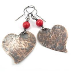kolczyki,walentynki,serca,miedź,koral,czerwone - Kolczyki - Biżuteria