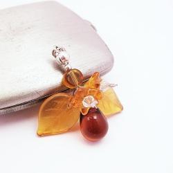 szkło,swarovski,wisiorek,jesienna,srebro - Wisiory - Biżuteria
