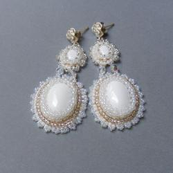 romantyczne,śłubne,w bieli - Kolczyki - Biżuteria