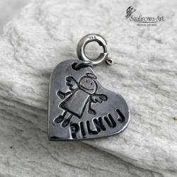 charms,art clay,anioł,serce,napis - Charms - Biżuteria