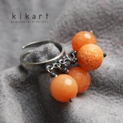 srebro,pomarańczowy,pierścionek,oksydowany - Pierścionki - Biżuteria