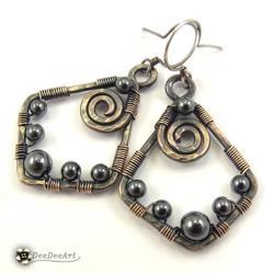 kolczyki,miedź,hematyt,wire-wrapping,szare,etno - Kolczyki - Biżuteria