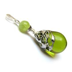 zielony,kolczyki,wisiorek,komplet,szkło - Inne - Biżuteria