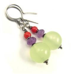 kolczyki,kolorowe,jadeit,ametyst,multikolor - Kolczyki - Biżuteria