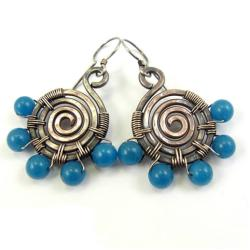 kolczyki,miedź,etniczne,niebieskie,kwarc,srebro - Kolczyki - Biżuteria