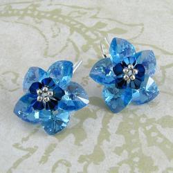 Water Flowers - plecione kolczyki Swarovski - Kolczyki - Biżuteria
