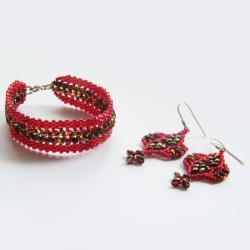 beading,elegancki,ab,opalizujący,czerwony - Komplety - Biżuteria