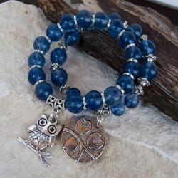 bransoletka,na gumce,kwarc niebieski - Bransoletki - Biżuteria