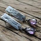 Kolczyki kolczyki srebro metaloplastyka briolette ametyst