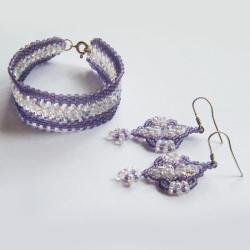 beading,elegancki,ab,opalizujący,fioletowy - Komplety - Biżuteria