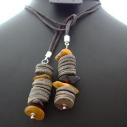 brązowy,bursztyn,muszla,długi - Naszyjniki - Biżuteria