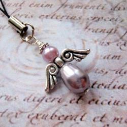 różowy,aniołek,brelok - Breloki - Biżuteria