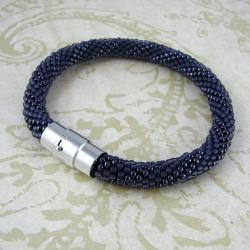 Blackberry swirl Bransoletka szydełkowo-koralikowa - Bransoletki - Biżuteria