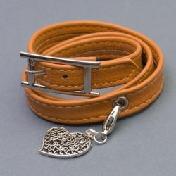 bransoletka modowa pomarańczowa skóra - Bransoletki - Biżuteria