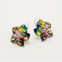 Evening Flowers - plecione kolczyki Swarovski - Kolczyki - Biżuteria