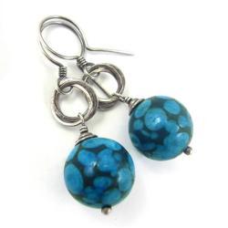 kolczyki,niebieskie,kółka,srebro,oceaniczne - Kolczyki - Biżuteria
