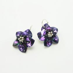 Heliotrope Flowers - plecione kolczyki Swarovski - Kolczyki - Biżuteria