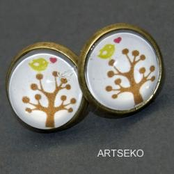 kolczyki vintage sowa grafika artseko - Kolczyki - Biżuteria