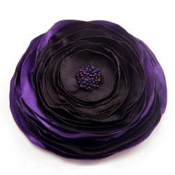 broszka,fiolet,czarna,satynowa,kwiat - Broszki - Biżuteria