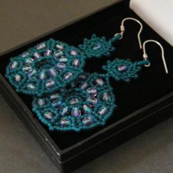 beading,capri blue,wieczorowe,misterne,koronka - Kolczyki - Biżuteria