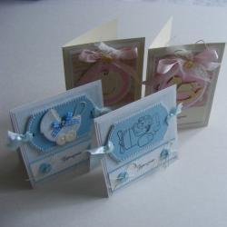 zaproszenia,chłopiec,dziewczynka,niebieski,róż - Kartki okolicznościowe - Akcesoria