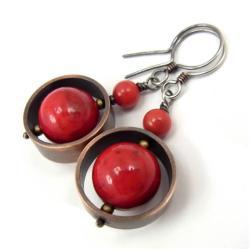 miedź,kolczyki,czerwone,obręcze,etniczne - Kolczyki - Biżuteria