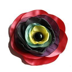 tkanina,broszka,kwiat,koralowy - Broszki - Biżuteria