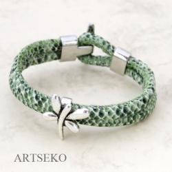 bransoletka,rzemień,skóra węża,nowoczesna,artse - Bransoletki - Biżuteria