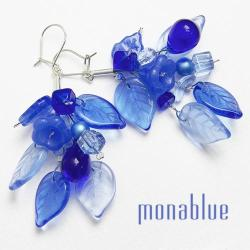 niebieskie,szafirowe,kwiatowe,listki - Kolczyki - Biżuteria
