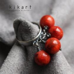 srebro,czerwony,koral,pierścionek,oksydowany - Pierścionki - Biżuteria