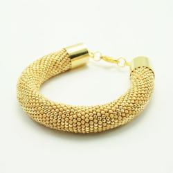 Golden Pleasure - złota bransoleta z koralików - Bransoletki - Biżuteria