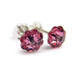 drobne kolczyki Swarovski Light Rose kwiatuszki - Kolczyki - Biżuteria