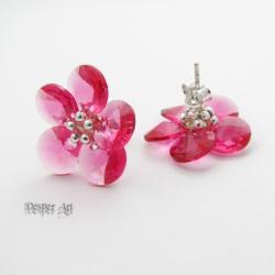 Pierwiosnki - plecione kolczyki Swarovski - Kolczyki - Biżuteria